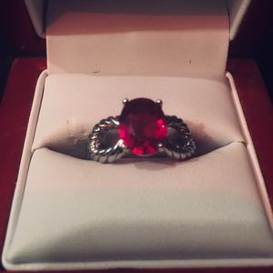 New Big Red Crystal Engagement Ring